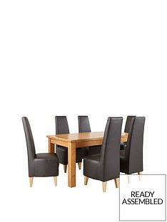 new-oakland-170cm-dining-table-amp-6-new-manhattan-chairs-buy-and-save