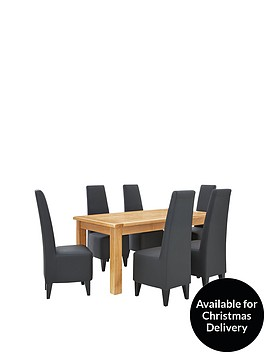 oakland-170cm-solid-wood-dining-table-6-manhattan-chairs