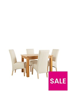 Oakland 120cm Solid Wood Dining Table 4 Eternity Chairs