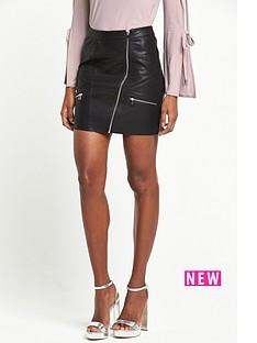river-island-leather-look-zip-mini-skirt-black