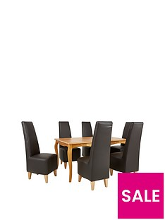 alisha-150-cm-solid-wood-dining-table-6-new-manhattan-chairs
