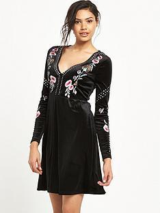 river-island-embroidered-skater-dress-black