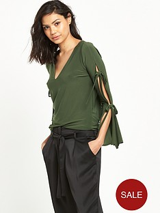 river-island-tie-sleeve-top-khaki