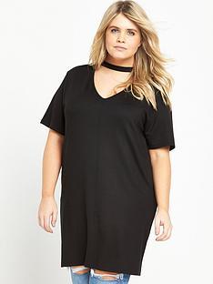 ri-plus-curve-choker-neck-longline-t-shirt-black
