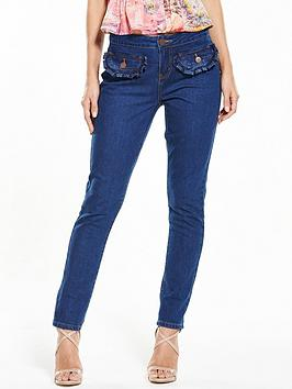 Lost Ink Frill Pocket Slim Fit Jeans &Ndash; Dark Denim