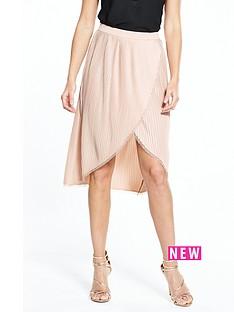 river-island-wrap-pleat-nude-skirt