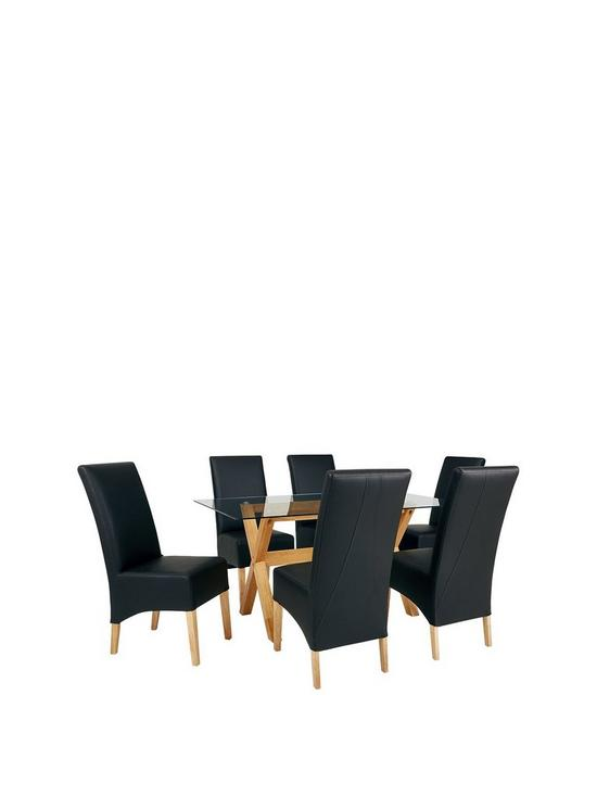 8ae9381095f Venla 150 cm Solid Wood and Glass Dining Table + 6 Eternity Chairs ...
