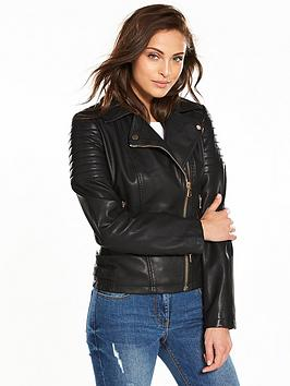V by Very Leather Look Biker Jacket | very.co.uk