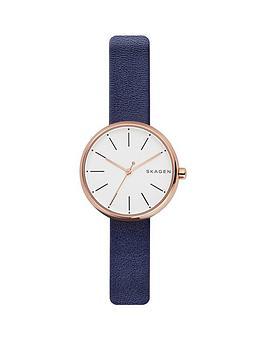 skagen-skagen-signatur-white-dial-rose-tone-case-navy-strap-leather-watch