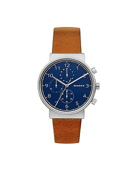 skagen-skagen-ancher-blue-dial-silver-tone-case-tan-leather-strap-mens-watch