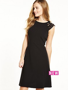 wallis-lace-shoulder-detail-fit-and-flare-dress-black
