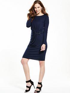 wallis-ring-detail-rouche-dress