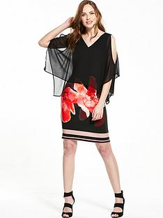wallis-floral-stripe-overlayer-dress