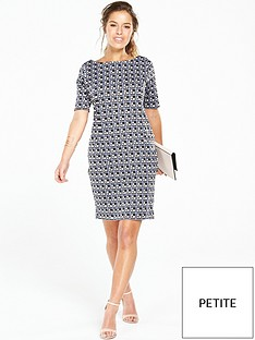 wallis-petitenbspcheck-ponte-dress-navy