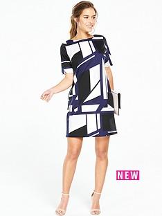 wallis-petite-geometric-printed-dress-navy