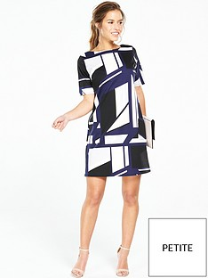 wallis-petite-geometric-printed-dress-navy