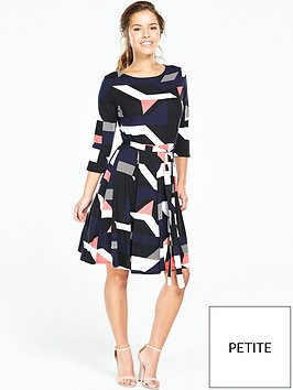 wallis-petite-geometric-print-fit-and-flare-dress-navynbsp