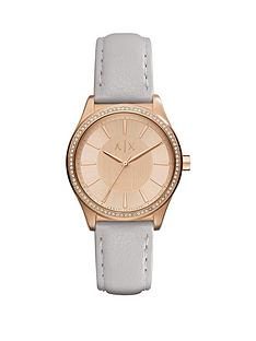 armani-exchange-rose-tone-dial-grey-leather-strap-ladies-watch