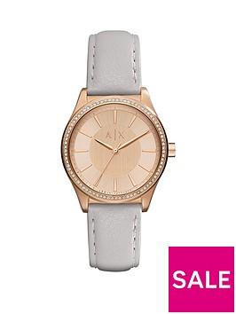 armani-exchange-rose-tone-dial-grey-leather-strap-ladies-watch
