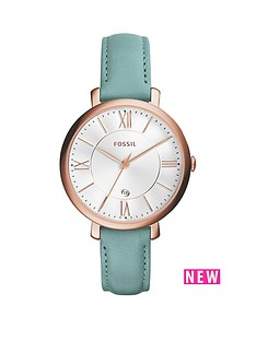 fossil-fossil-jacqueline-silver-tone-dial-rose-tone-case-green-leather-stap-ladies-watch