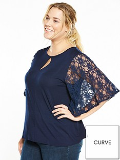 v-by-very-curve-batwing-lace-top-navy