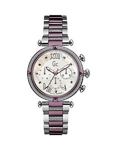 gc-ladychic-swiss-movement-multifunction-silver-amp-purple-case-amp-bracelet-with-white-mother-of-pearl-dial