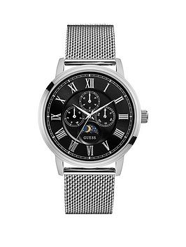 guess-delancy-guess-men039s-silver-and-black-watch-with-silver-mesh-bracelet