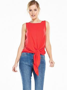 vero-moda-trisha-tie-bow-top-red