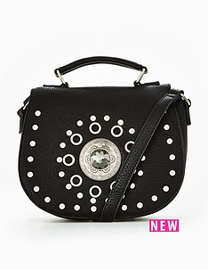 miss-selfridge-black-studded-saddle-bag