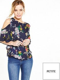 v-by-very-petite-petite-floral-ruffle-cold-shoulder-top