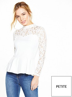 v-by-very-petite-petite-lace-yoke-peplum-top