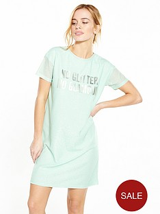 v-by-very-petite-petite-metallic-slogan-t-shirt-dress