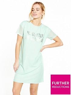 v-by-very-petite-petite-metallic-slogan-t-shirt-dress
