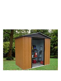 yardmaster-67-x-45-ft-woodgrain-effect-apex-roof-metal-shed