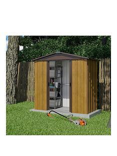 yardmaster-67-x-45-ft-woodgrain-effect-apex-roof-metal-shed