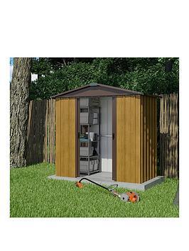 Yardmaster 6.7 X 4.5 Ft Woodgrain Effect Apex Roof Metal Shed
