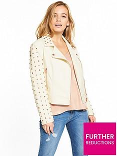 v-by-very-petite-rose-gold-studded-pu-jacket