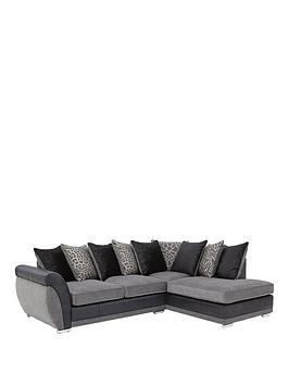 Hilton Fabric And Faux Leather Right Hand Corner Chaise Sofa