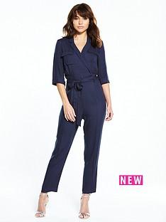 miss-selfridge-miss-selfridge-navy-34-sleeve-ulity-jumpsuit