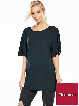 miss-selfridge-frill-sleeve-lattice-back-cupro-tunic-black