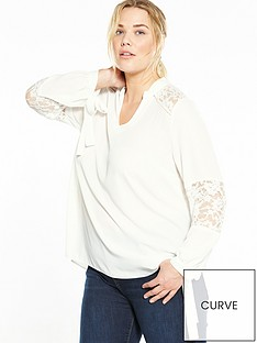 v-by-very-curve-lace-tie-sleeve-blouse-ivory