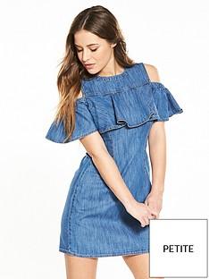 miss-selfridge-petite-denim-cold-shoulder-dress