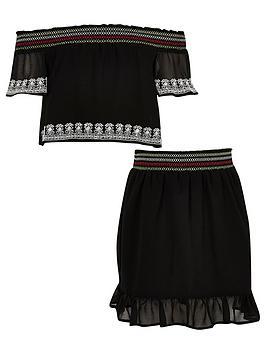 river-island-girls-black-chiffon-lace-bardot-top-outfit