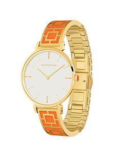 halcyon-days-maya-white-dial-orange-ceramic-bracelet-ladies-watch