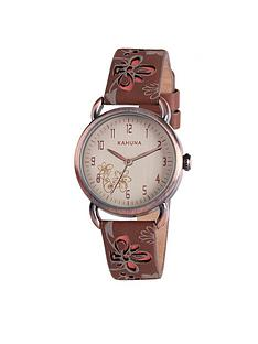 kahuna-kahuna-white-dial-pink-flower-dark-brown-strap-ladies-watch