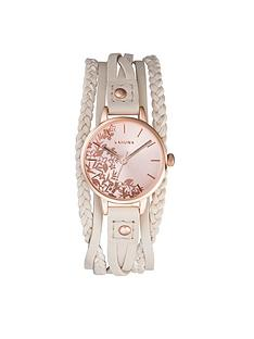 kahuna-kahuna-floral-dial-cream-beaded-multi-strap-ladies-watch