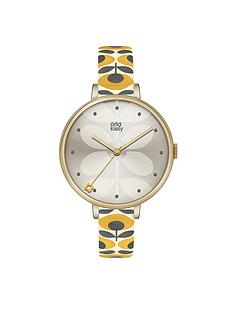 orla-kiely-orla-kiely-gold-large-round-case-with-gold-stem-print-dial-and-yellow-patterned-leather-strap-watch