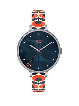 orla-kiely-large-silver-round-case-with-navy-stem-print-dial-and-orange-patterned-leather-strap-watch