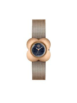 orla-kiely-brushed-rose-gold-flower-case-navy-dial-rose-gold-mesh-bracelet-ladies-watch