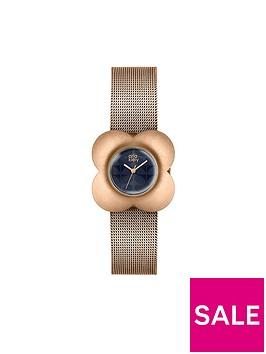 orla-kiely-brushed-rose-gold-flower-case-navy-dial-rose-gold-mesh-bracelet-ladies-watch